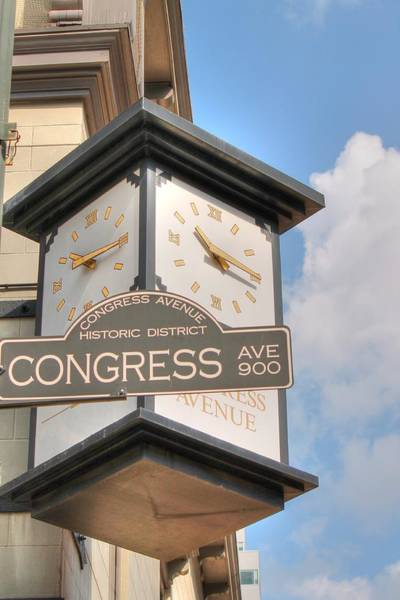 Photograph - Austin Street Sign And Clock by Sarah Broadmeadow-Thomas