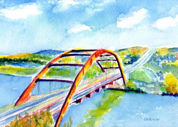 Wall Art - Painting - Austin Texas 360 Bridge Watercolor by Carlin Blahnik CarlinArtWatercolor