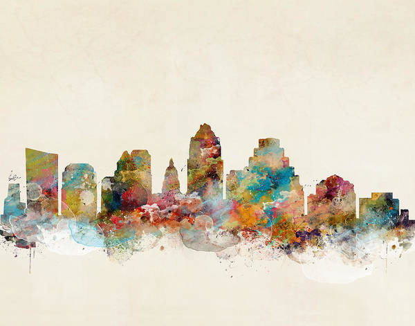 City Map Painting - Austin Texas by Bri Buckley
