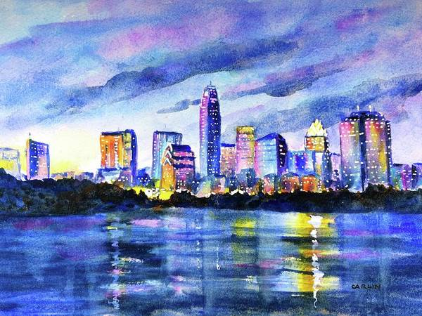 Wall Art - Painting - Austin Texas Colorful Skyline Sunset by Carlin Blahnik CarlinArtWatercolor