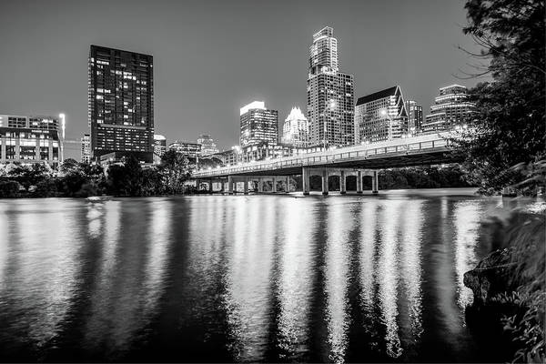 Photograph - Austin Texas Downtown Skyline At Night On The Colorado River - Black And White Edition by Gregory Ballos