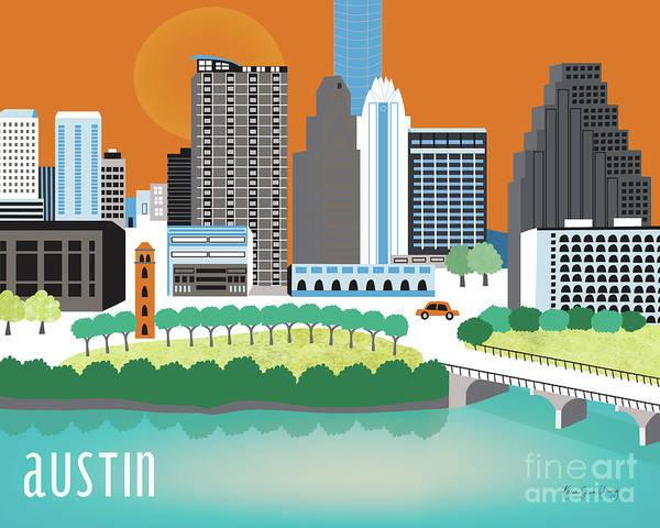 Mississippi River Wall Art - Digital Art - Austin Texas Horizontal Skyline by Karen Young