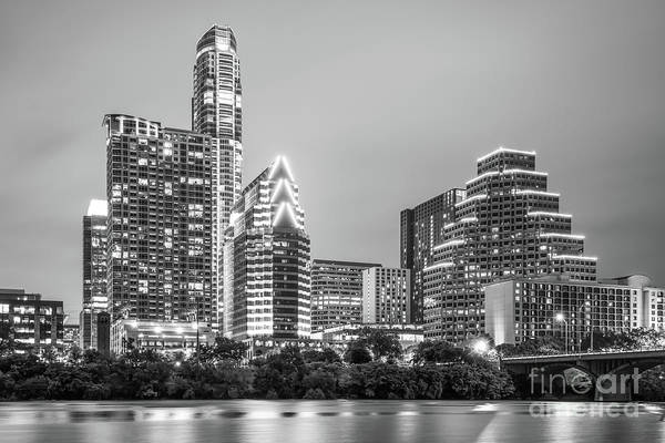 Wall Art - Photograph - Austin Texas Skyine At Night Black And White Photo by Paul Velgos