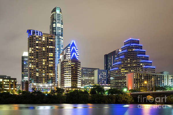 Wall Art - Photograph - Austin Texas Skyine At Night Photo by Paul Velgos