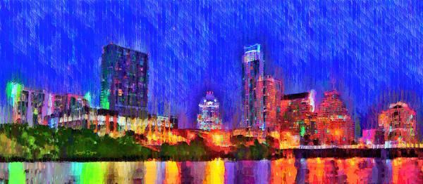 Frost Bank Painting - Austin Texas Skyline 100 - Pa by Leonardo Digenio