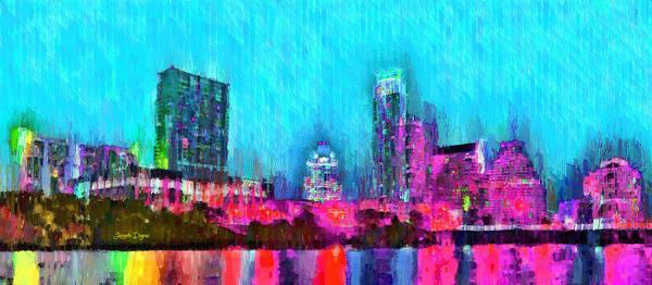 Frost Bank Painting - Austin Texas Skyline 103 - Pa by Leonardo Digenio