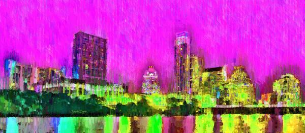 Frost Bank Painting - Austin Texas Skyline 105 - Pa by Leonardo Digenio