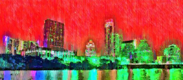 Frost Bank Painting - Austin Texas Skyline 107 - Pa by Leonardo Digenio
