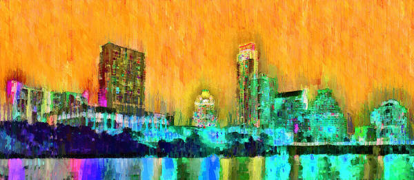 Frost Bank Painting - Austin Texas Skyline 108 - Pa by Leonardo Digenio