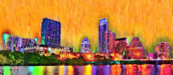 Frost Bank Painting - Austin Texas Skyline 109 - Pa by Leonardo Digenio