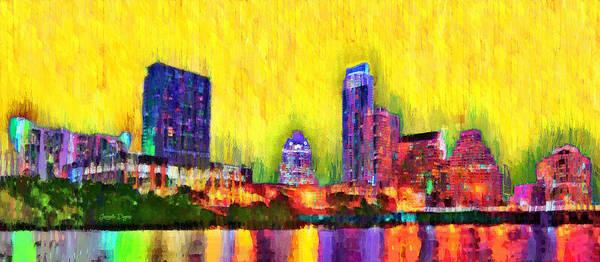 Frost Bank Painting - Austin Texas Skyline 114 - Pa by Leonardo Digenio