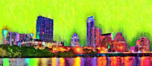 Frost Bank Painting - Austin Texas Skyline 115 - Pa by Leonardo Digenio