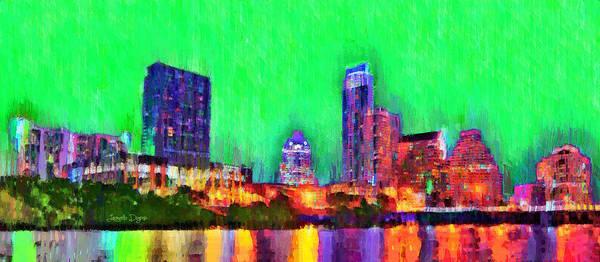 Frost Bank Painting - Austin Texas Skyline 116 - Pa by Leonardo Digenio