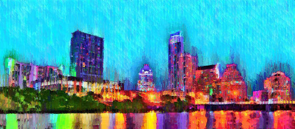 Frost Bank Painting - Austin Texas Skyline 117 - Pa by Leonardo Digenio