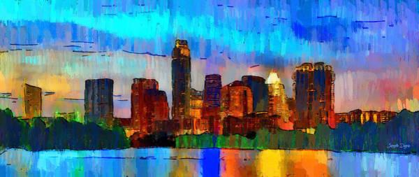 Frost Bank Painting - Austin Texas Skyline 200 - Pa by Leonardo Digenio