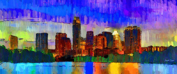 Frost Bank Painting - Austin Texas Skyline 208 - Pa by Leonardo Digenio
