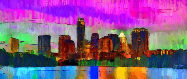 Frost Bank Painting - Austin Texas Skyline 209 - Pa by Leonardo Digenio