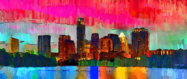 Frost Bank Painting - Austin Texas Skyline 210 - Pa by Leonardo Digenio
