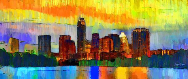 Frost Bank Painting - Austin Texas Skyline 211 - Pa by Leonardo Digenio
