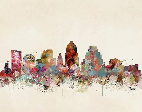 Wall Art - Painting - Austin Texas Skyline by Bri Buckley