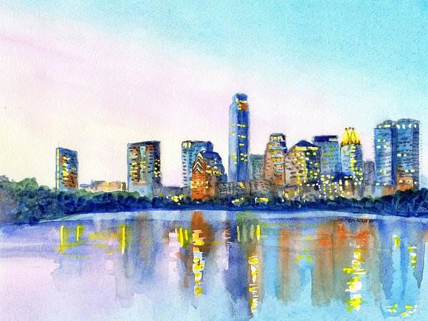 Painting - Austin Texas Skyline by Carlin Blahnik CarlinArtWatercolor