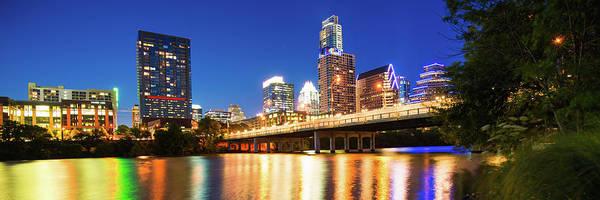 Photograph - Austin Texas Skyline Night Panorama by Gregory Ballos
