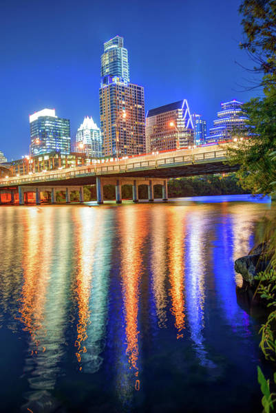 Photograph - Austin Texas Skyline Night Reflections by Gregory Ballos