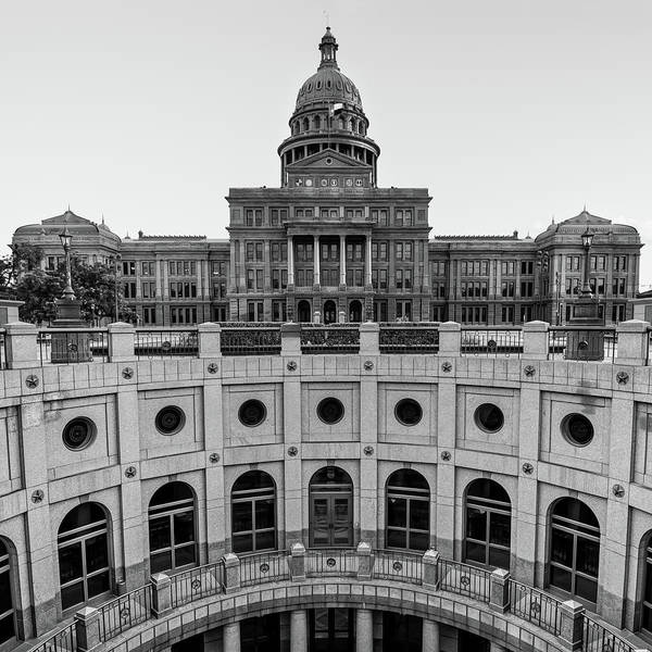 Photograph - Austin Texas Usa State Capitol - Black And White Edition - 1x1 by Gregory Ballos