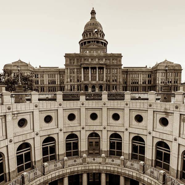 Photograph - Austin Texas Usa State Capitol - Sepia Edition - 1x1 by Gregory Ballos