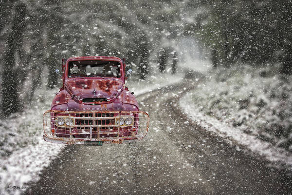 Mixed Media - Austin Truck Stuck In Snow by Ericamaxine Price