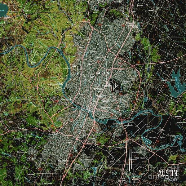 Wall Art - Digital Art - Austin Usa Green Vintage Old Map by Drawspots Illustrations