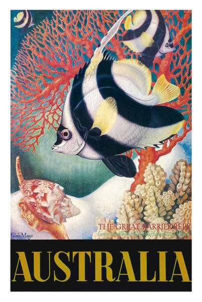 Wall Art - Digital Art - Australia Great Barrier Reef Vintage World Travel Poster By Eileen Mayo by Retro Graphics
