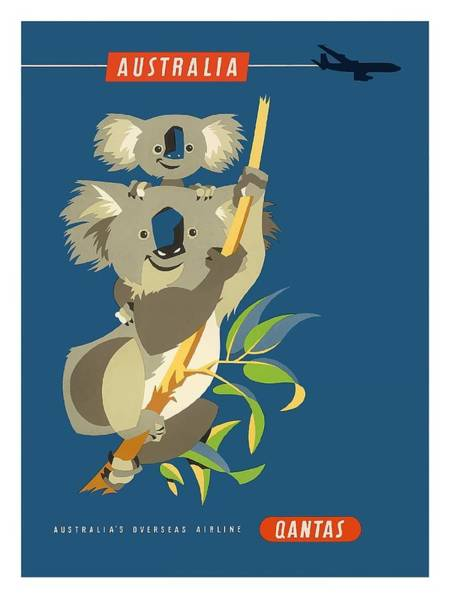 Fauna Digital Art - Australia Koala Bears Qantas Empire Airways Vintage Travel Poster by Retro Graphics