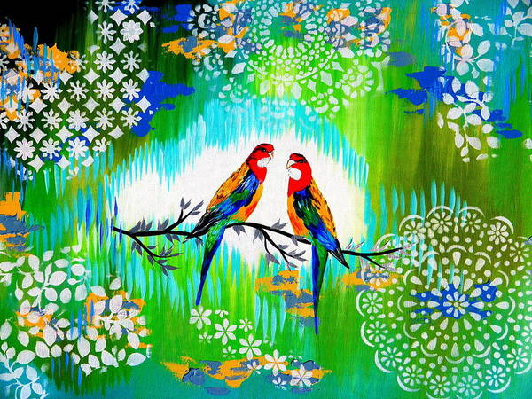 Lovebird Painting - Australian by Cathy Jacobs