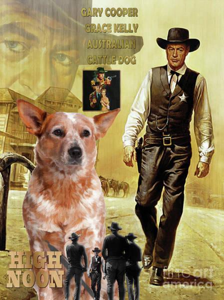 Wall Art - Painting - Australian Cattle Dog Art Canvas Print - High Noon  Movie Poster by Sandra Sij
