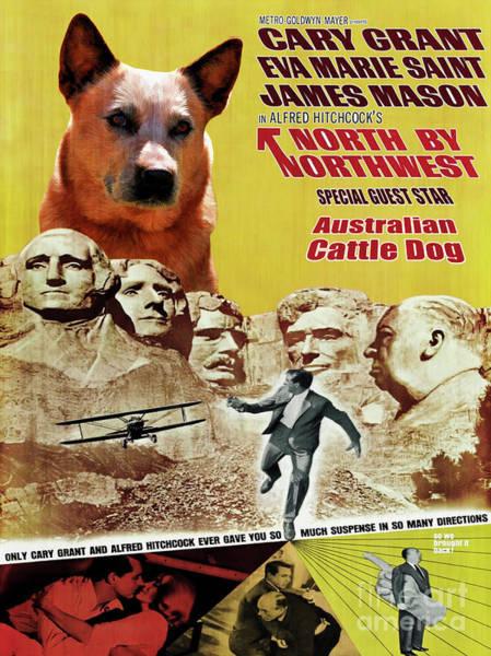 Wall Art - Painting - Australian Cattle Dog Art Canvas Print - North By Northwest Movie Poster by Sandra Sij