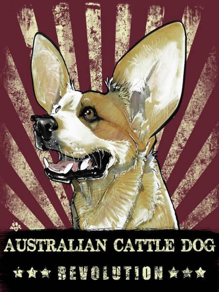 Drawing - Australian Cattle Dog Revolution by John LaFree
