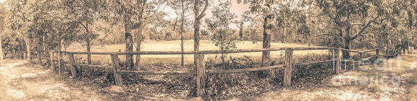 Fence Post Photograph - Australian Farm Fence Panorama by Jorgo Photography - Wall Art Gallery