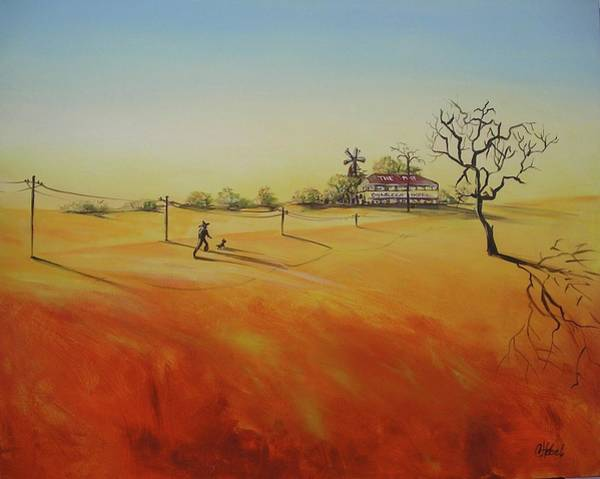 Desolation Painting - Australian Outback Painting The Way Home  by Chris Hobel