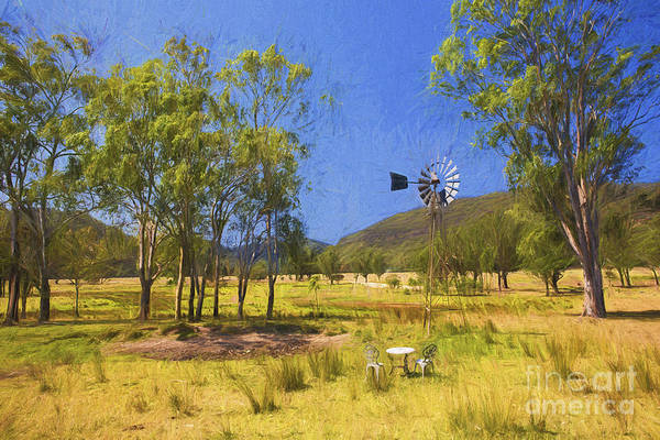 Wall Art - Photograph - Australian Paddock With Mill by Sheila Smart Fine Art Photography