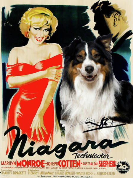 Wall Art - Painting - Australian Shepherd Art -  Niagara Movie Poster by Sandra Sij