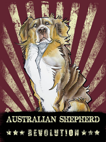 Drawing - Australian Shepherd Revolution by John LaFree