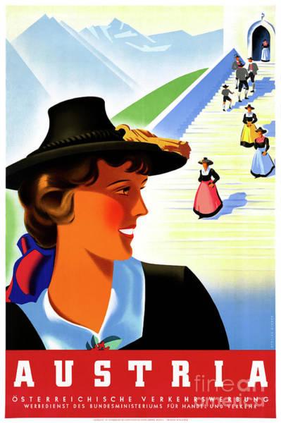 European Vacation Mixed Media - Austria Restored Vintage Travel Poster by Vintage Treasure