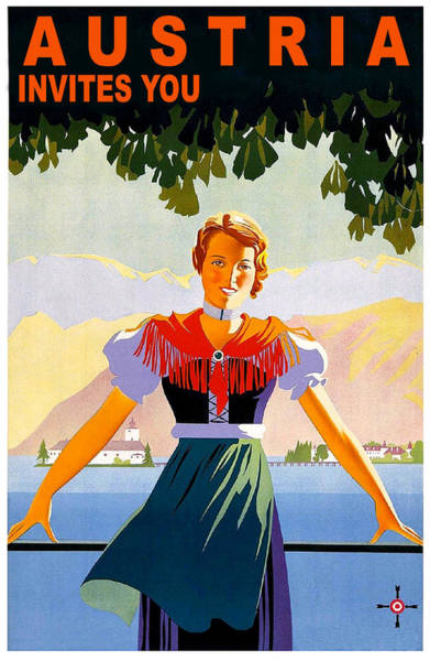 Long Dress Painting - Austria, Young Woman In Traditional Dress Invites You, Danube River by Long Shot