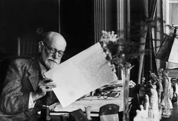 Therapist Photograph - Austrian Psychoanalyst Sigmund Freud In His Office In Vienna by Austrian School
