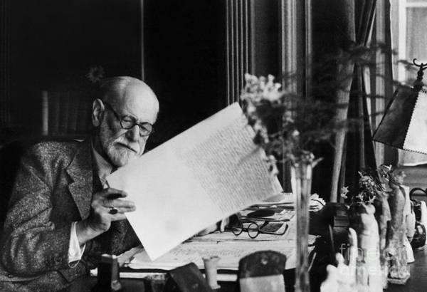 Vienna Photograph - Austrian Psychoanalyst Sigmund Freud In His Office In Vienna by Austrian School