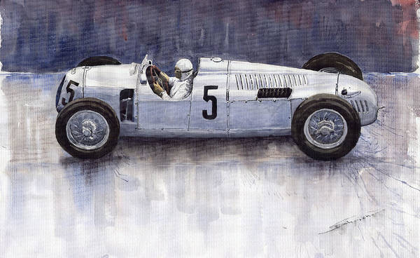 Auto Wall Art - Painting - Auto Union 1936 Type C by Yuriy Shevchuk