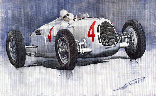 Auto Wall Art - Painting - Auto Union C Type 1937 Monaco Gp Hans Stuck by Yuriy Shevchuk