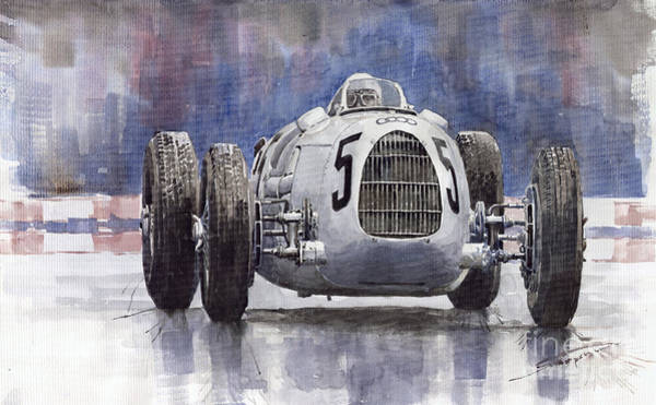 Watercolour Painting - Auto-union Type C 1936 by Yuriy Shevchuk