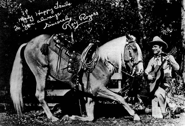 Wall Art - Painting - Autographed Roy Rogers And Horse Trigger by Pd